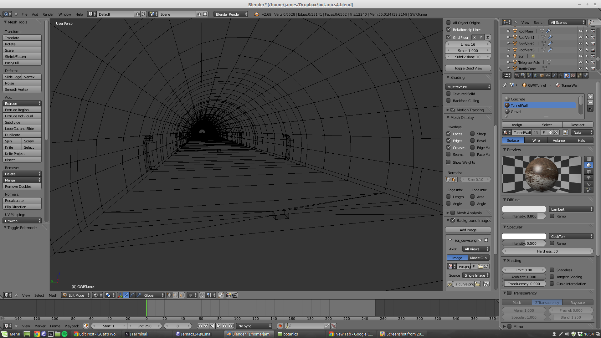 Tunnel, modelled with array modifier