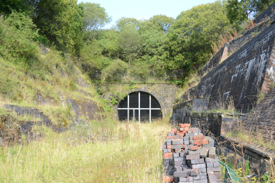 Whitrope Tunnel's south portal. The collapse is just beyond the metal fencing.